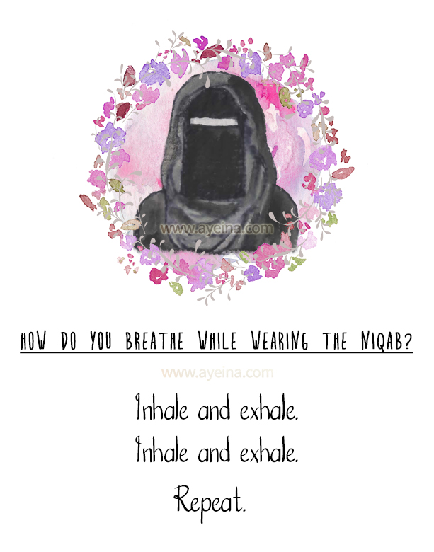 inhale and exhale repeat niqab questions answered watercolor illustration islamic print free download