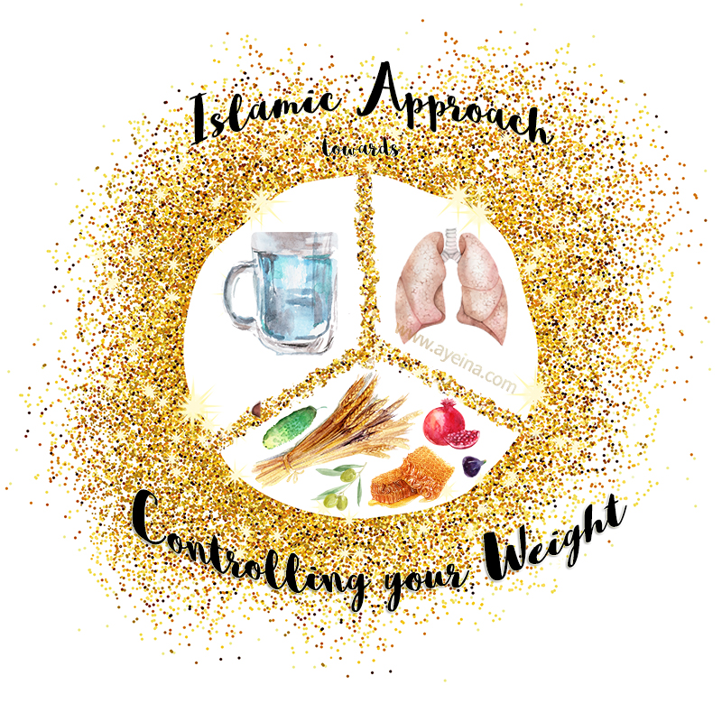 ayesha farooq zayeneesha golden sparkle glitter gold 3 parts watercolor illustrations islamic approach towards controlling your weight honey olives fig pomegranate gourd