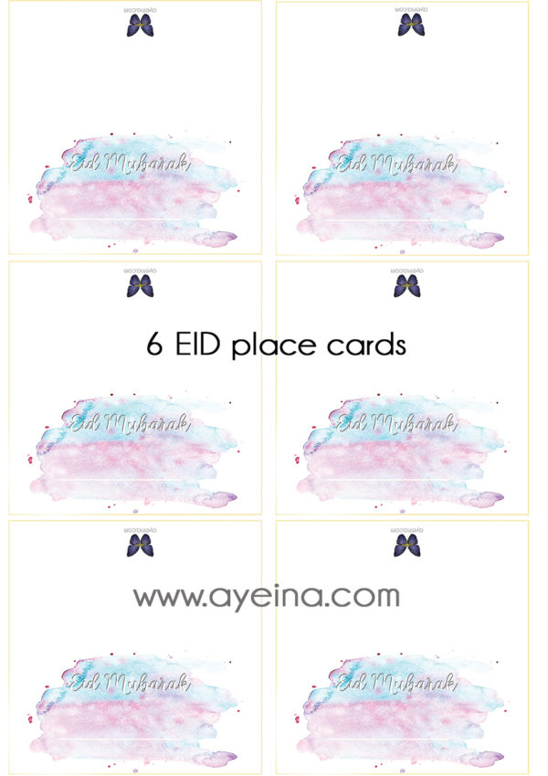 eid table setting elegant feminine watercolor hand lettered font sky blue and pink