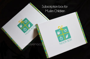 crowdfunded islamic project, subscription box for muslim kids, muslim homeschooling, muslim homeschooler, product photography of a box, box green logo, islamic pattern product, science for muslim children, halal edutainment for kids, islam for young minds