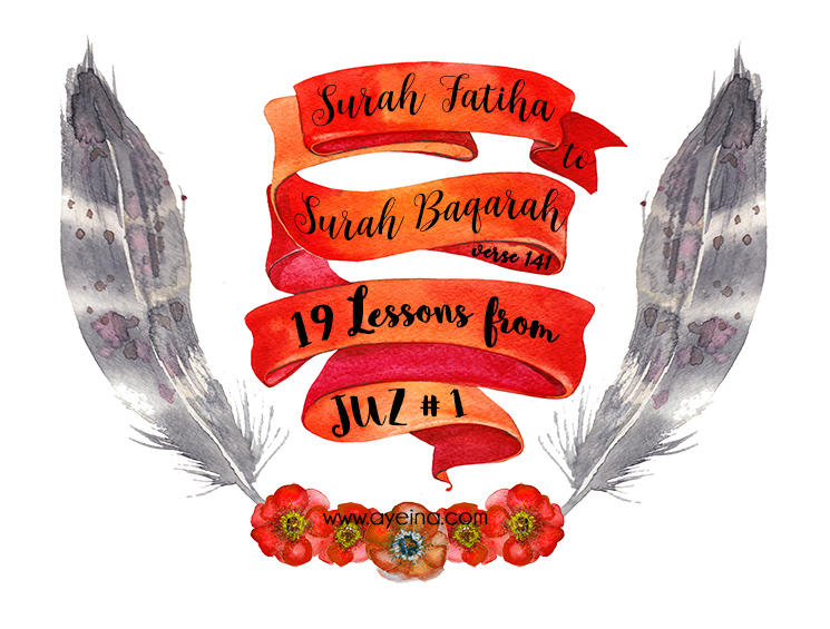samina farooq, ayesha farooq, zayeneesha, surah fatiha, surah baqarah till verse 141 , feathers watercolor, red ribbons, red flowers watercolor, muslimah artists designer photographer illustrator blogger