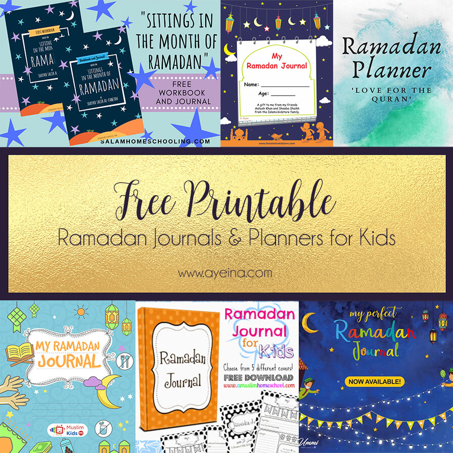 list of free ramadan journals planners for kids printable