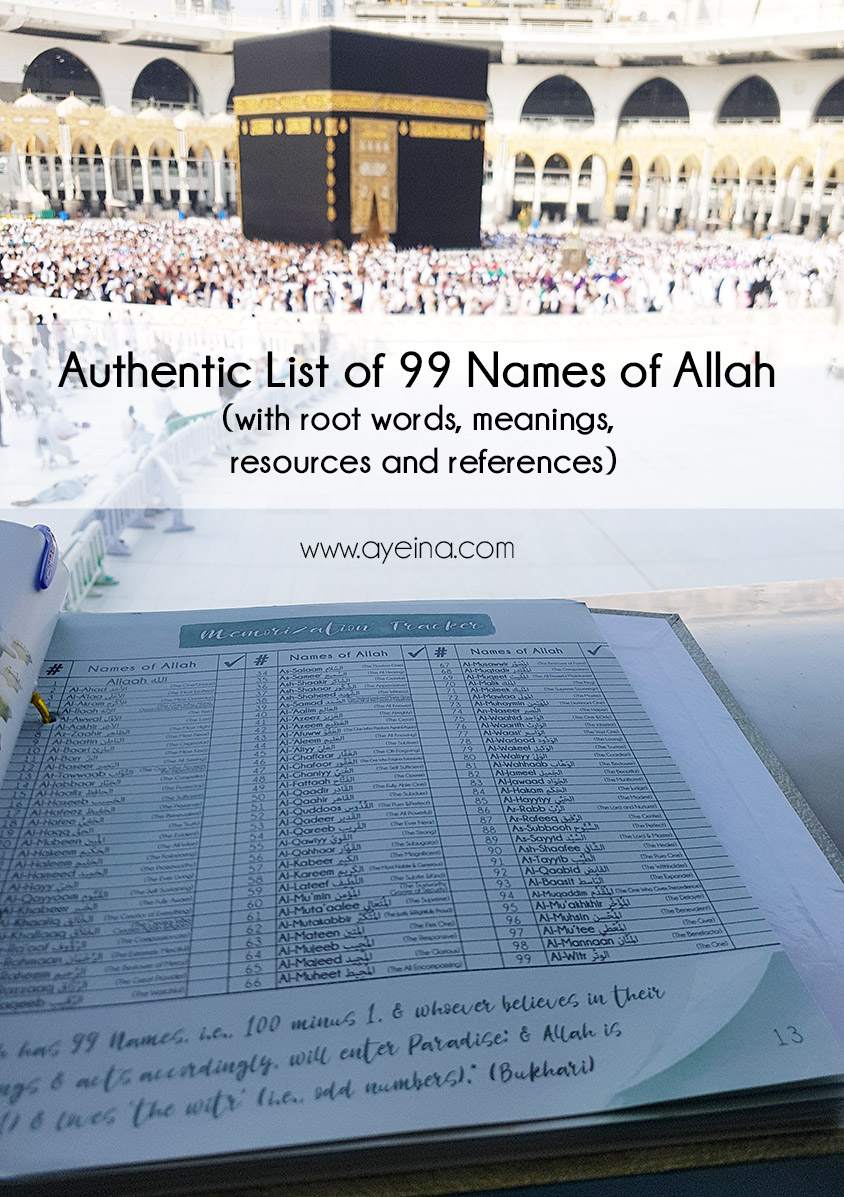 Know Allah Better Through His 99 Names (authentic list with