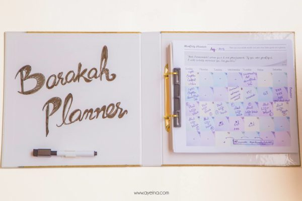 printed pastel planner inside the productivity journal for Muslims (whiteboard binder)