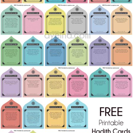 hadith cards free printable for Ramadan calendar colourful minarets